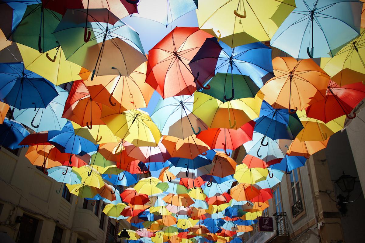 parapluies multicolores ciel chapeu cores umbrellas agueda aveiro portugal frederico santos umbrella sky project