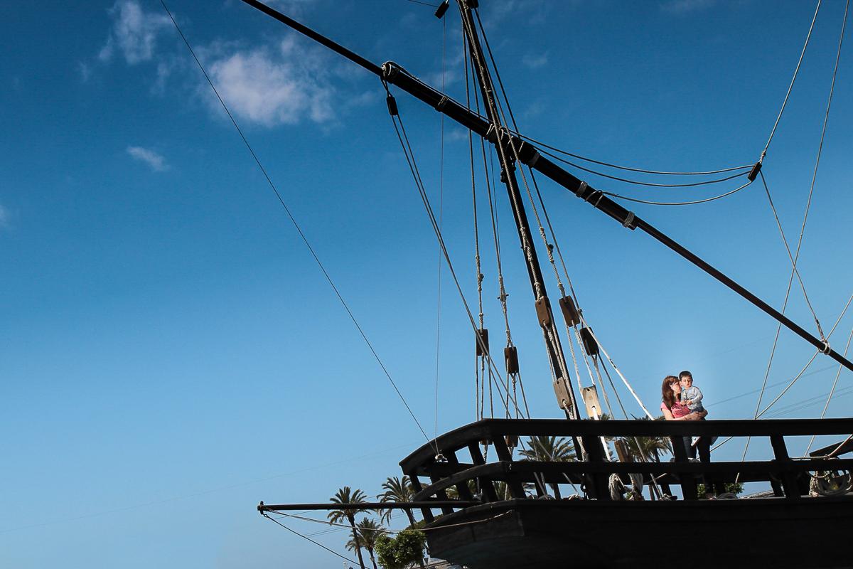 photo famille huelva seville christophe colomb bateau musée la rabida